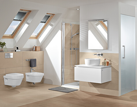 bath under a sloping roof clever use of space villeroy boch. Black Bedroom Furniture Sets. Home Design Ideas