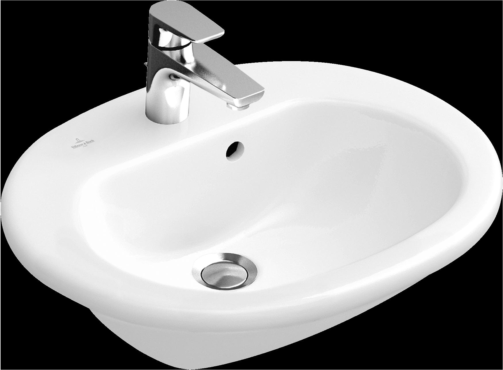 Semi recessed washbasin oval 416055 villeroy boch for Vasque salle de bain villeroy et boch